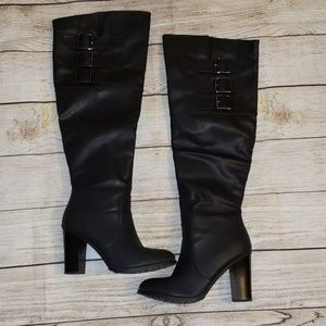 Leila Stone Over the Knee Boots Black Size 8.5